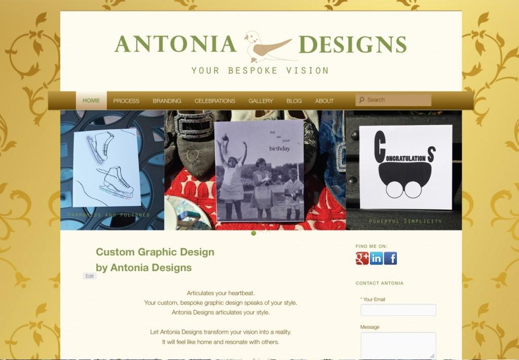 screenshot of the final version of the Antonia Designs website