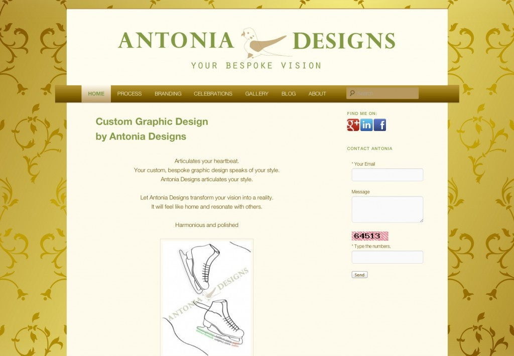 screenshot of Antonia Designs pre-slider
