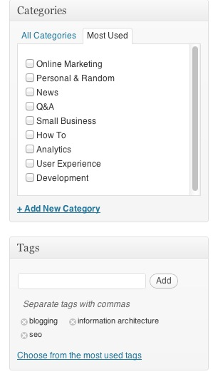 Categories and tags selector on WordPress
