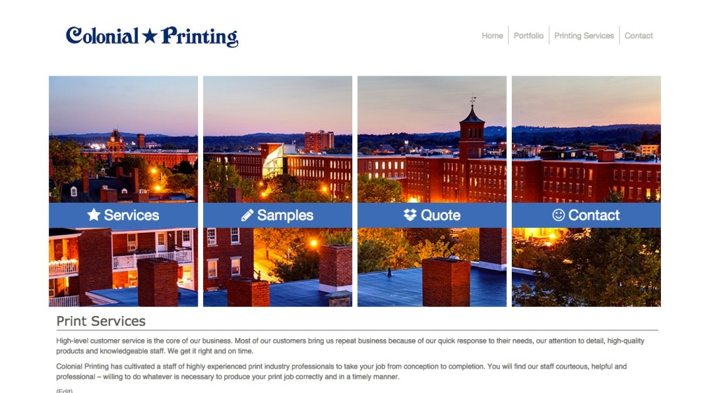 new Colonial printing website