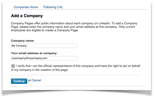 lnikedin how to create a company page
