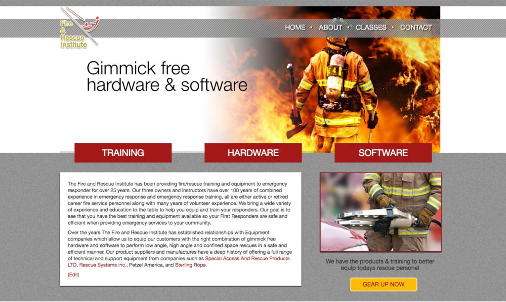 screenshot of Fire & Rescue Institute Website