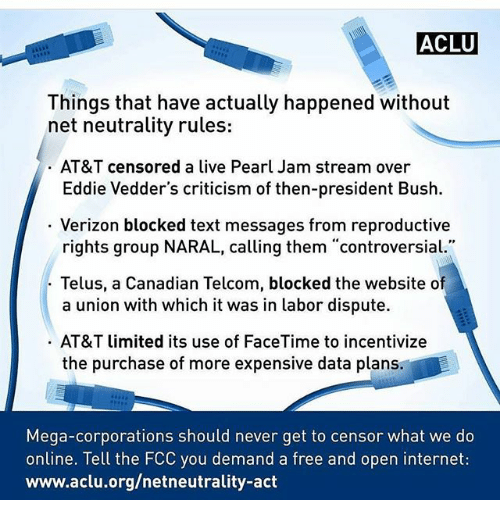 Things that have actually happened without net neutrality rules