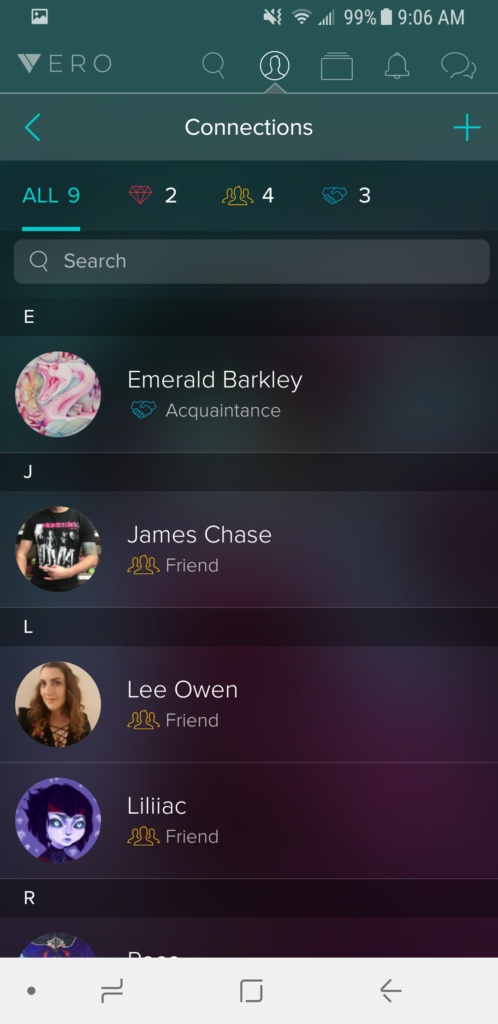 Vero Connections Tab