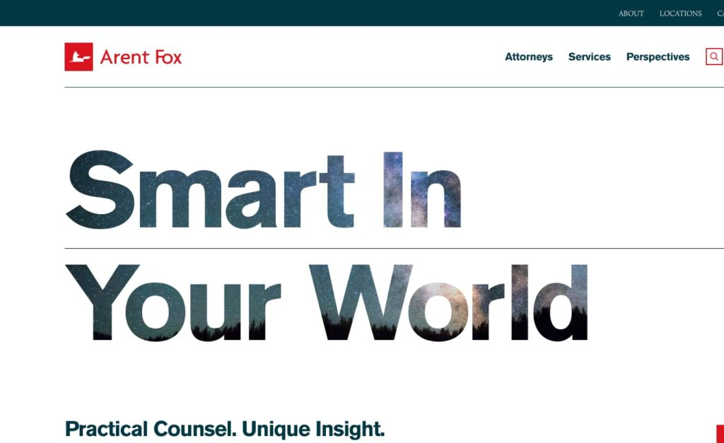 "Arent Fox ""Smart in Your World"" text"