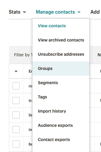 Manage contacts list on MailChimp