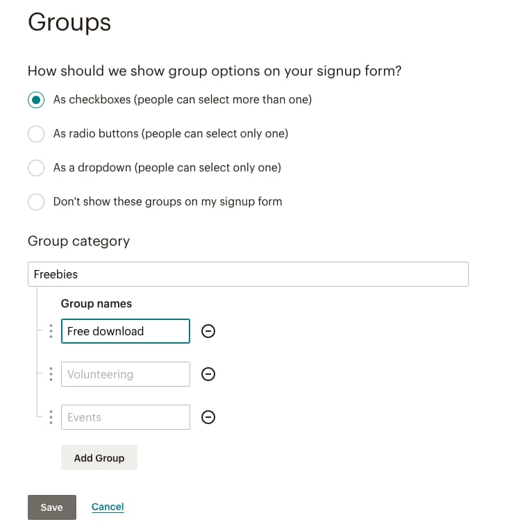 Interest groups setup in MailChimp