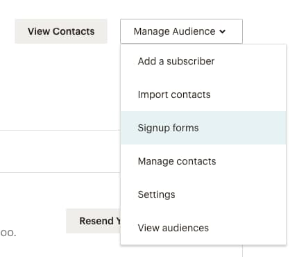 Manage audience dropdown in MailChimp
