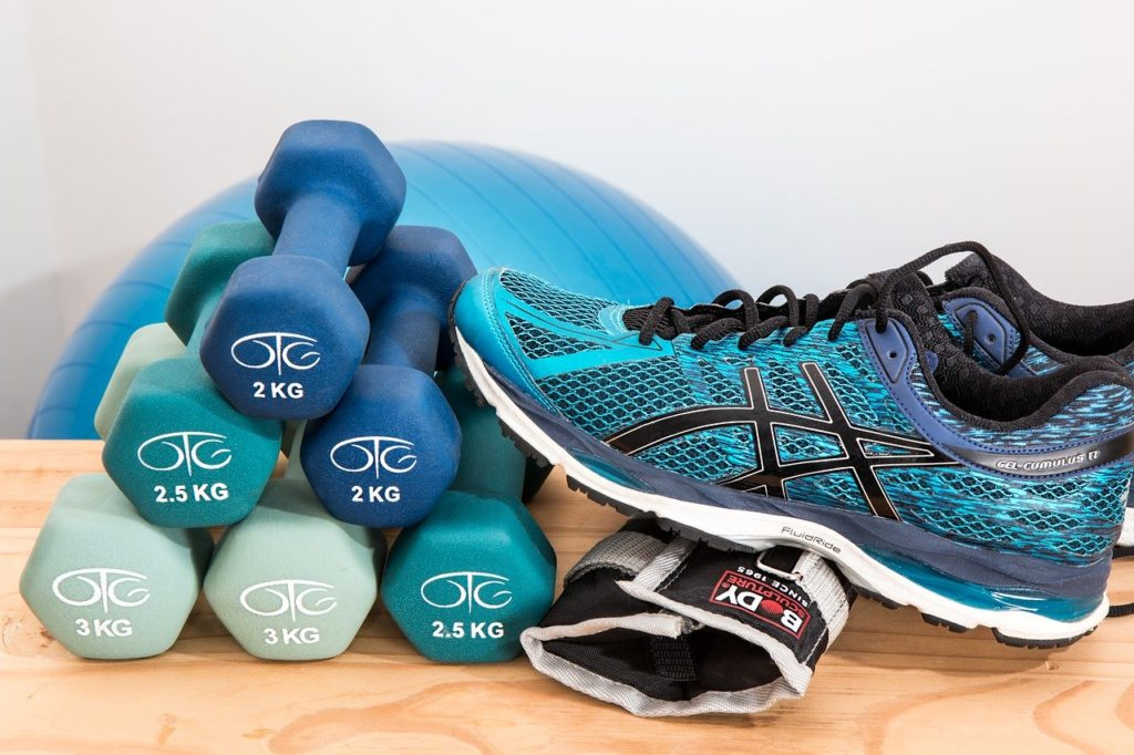 Dumbells and Shoes for Fitness