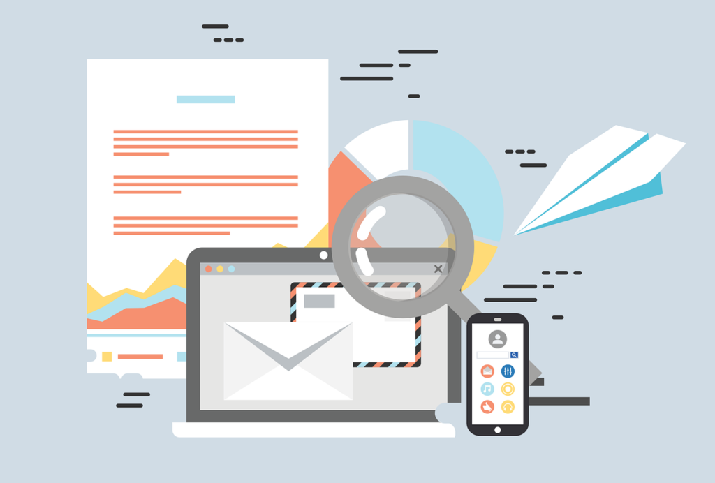 Email marketing with a computer laptop and phone