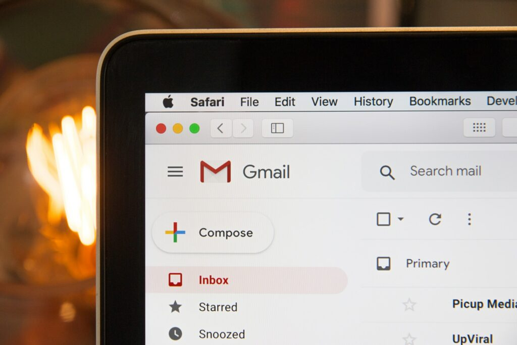 Gmail inbox on a laptop screen