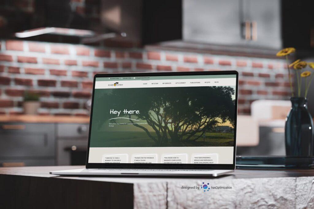 Emily Oehler Golden Acorns website on a laptop